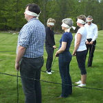 Group exercise with blindfolds